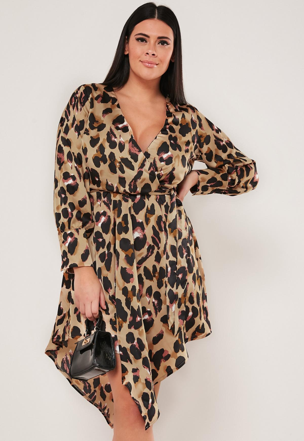 retail prices large discount really comfortable Plus Size Brown Leopard Print Tie Waist Satin Plunge Dress ...
