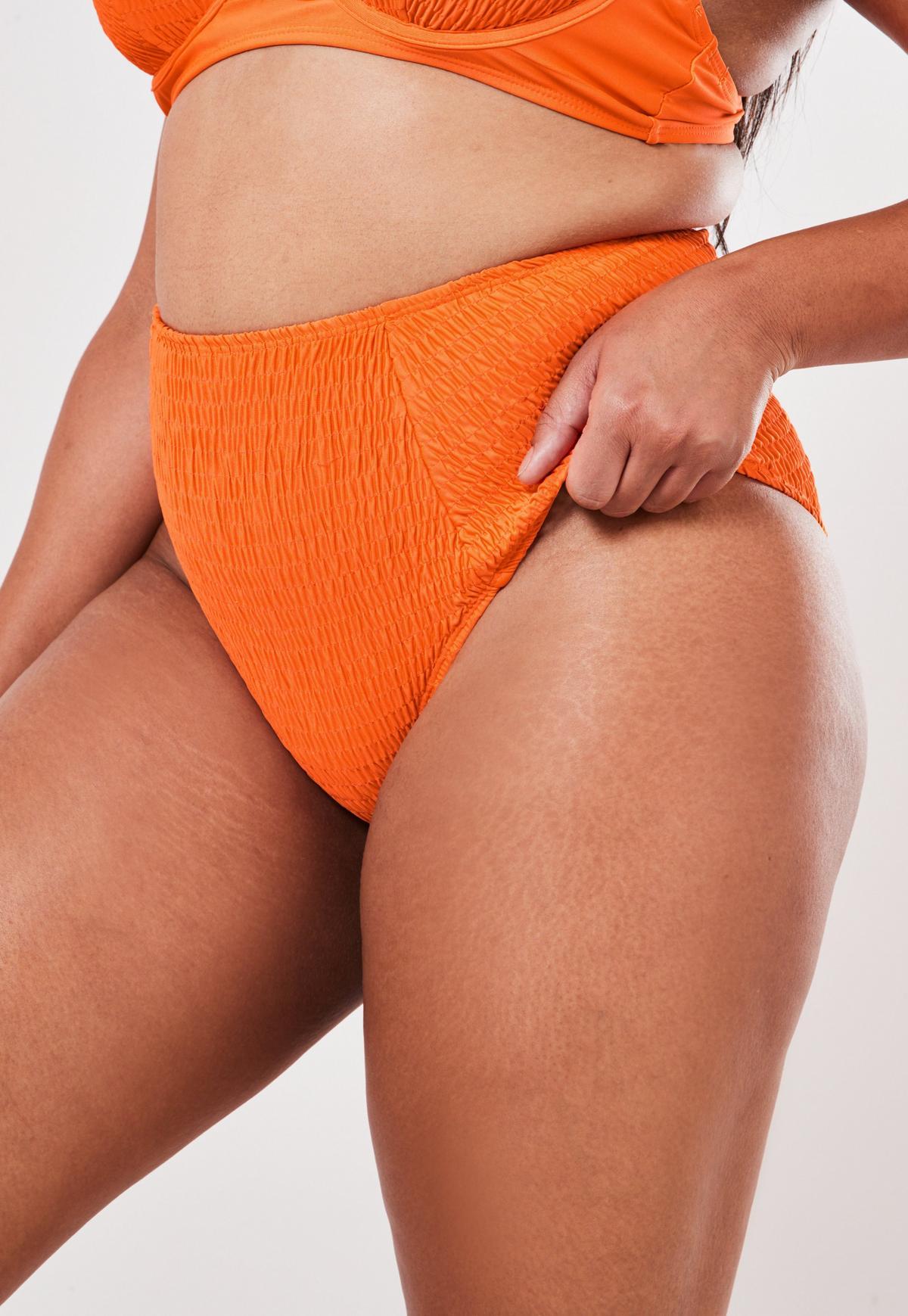 Plus Size Orange High Waisted Bikini Bottoms