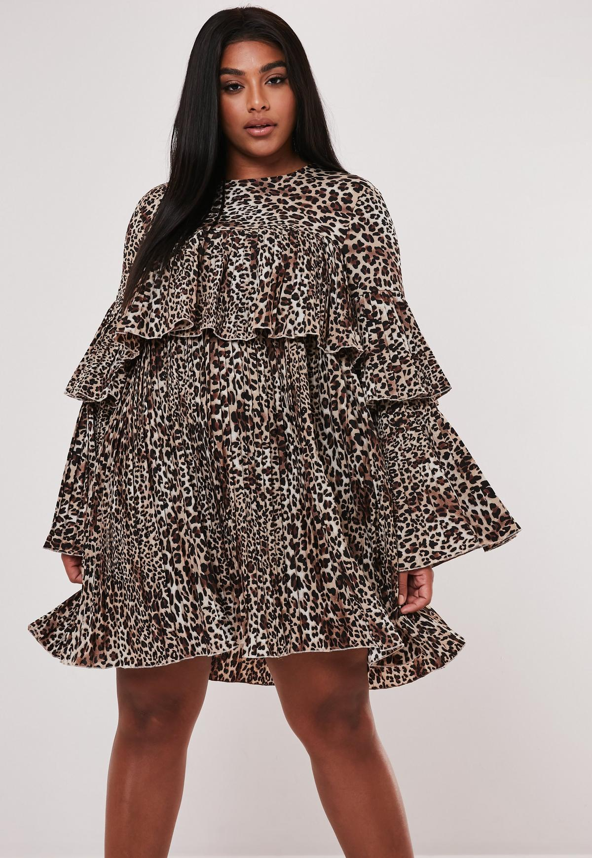Plus Size Brown Leopard Print Pleated Smock Dress