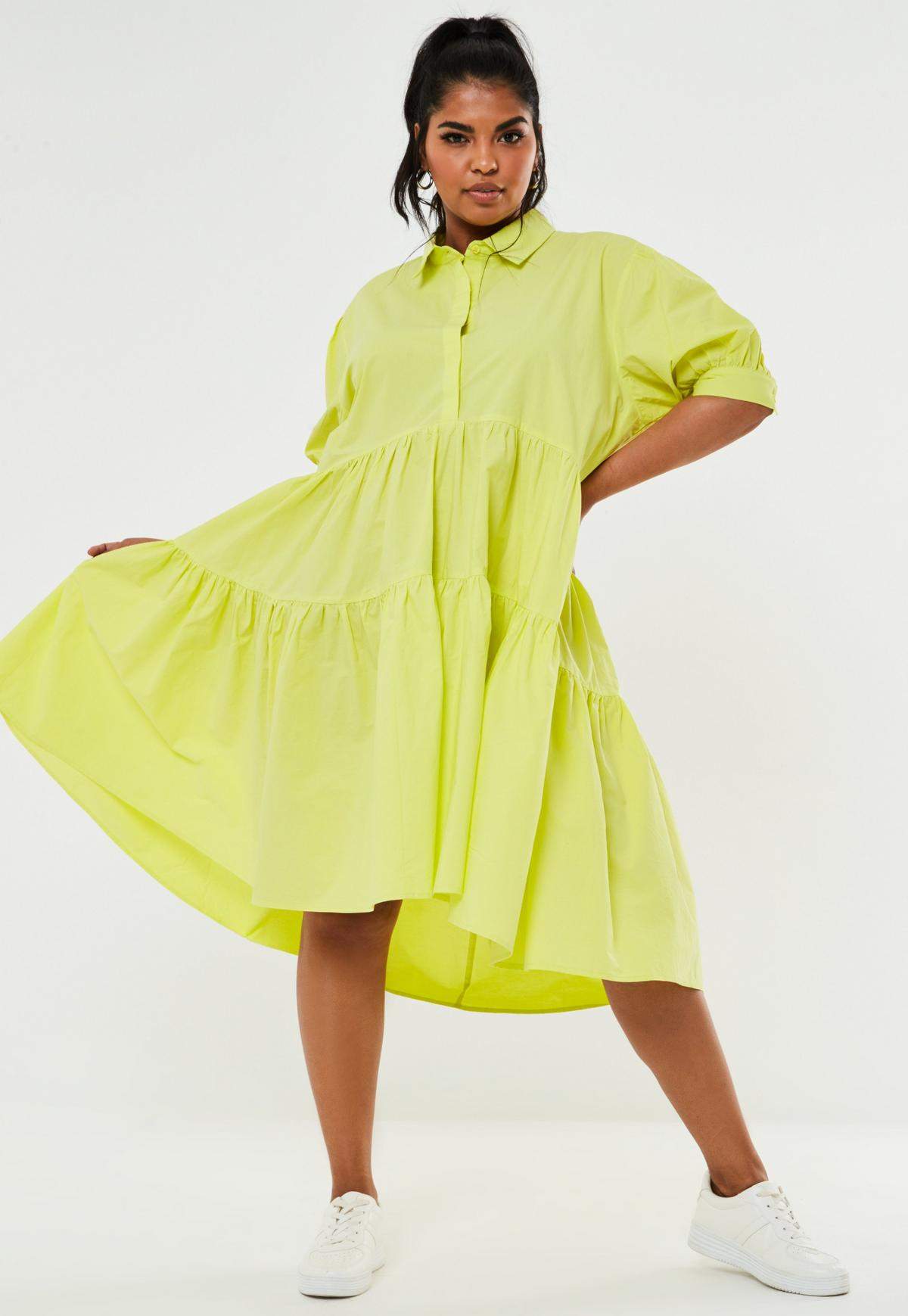 Plus Size Neon Green Extreme Oversized Maxi Smock Dress