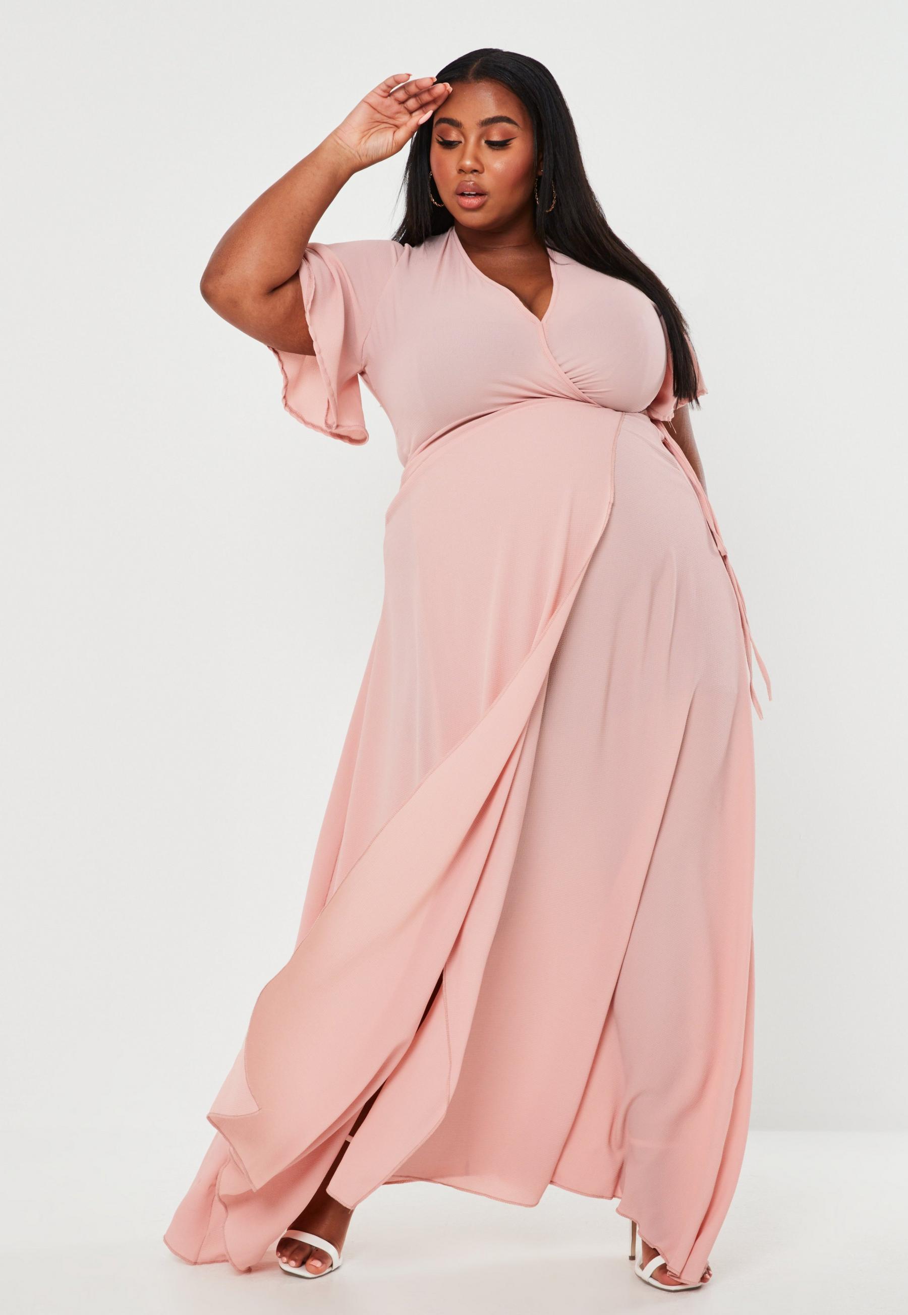 Plus Size Rose Crepe Wrap Front Maxi Dress