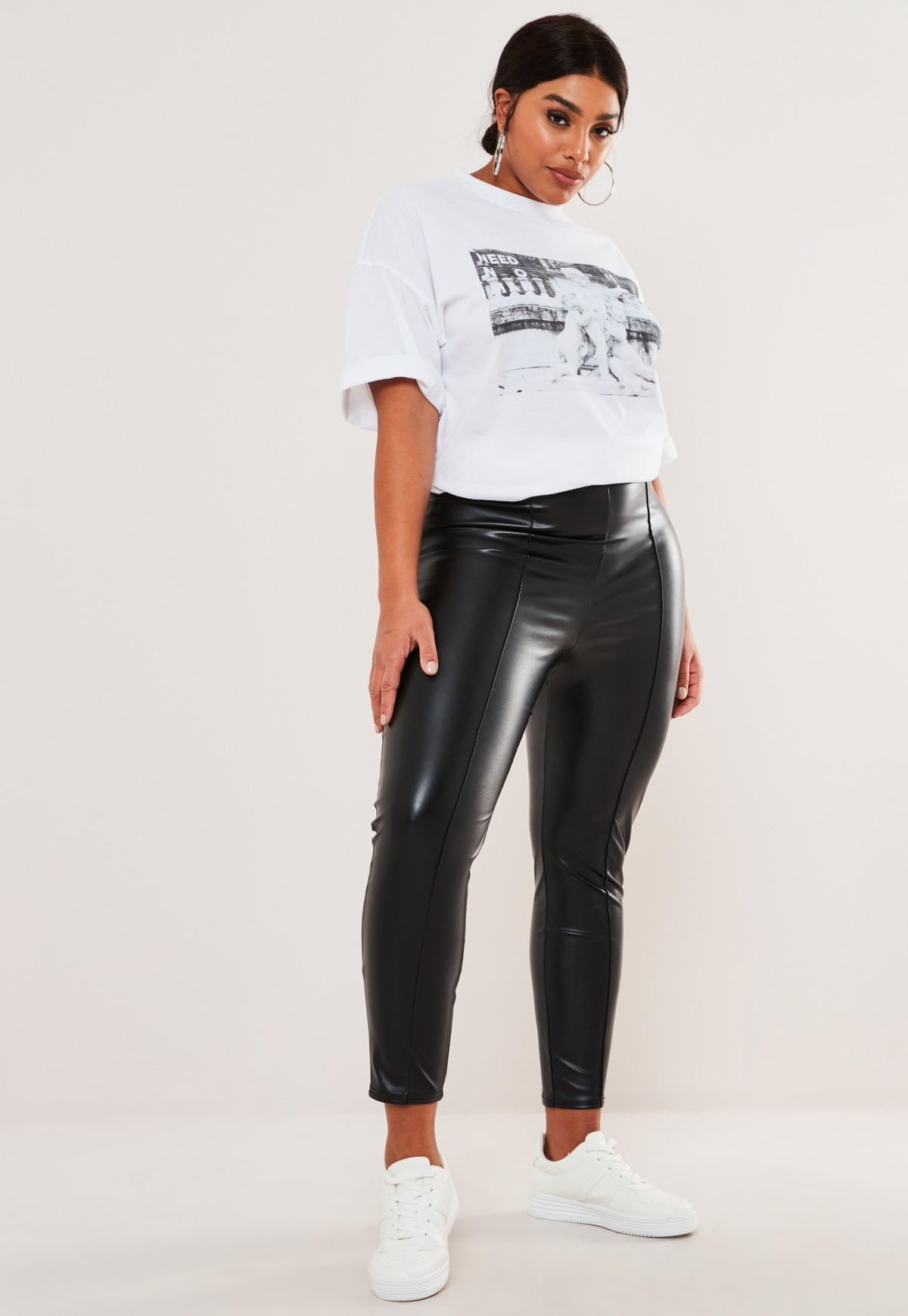 Plus Size Black Faux Leather Pin Tuck Leggings Missguided   20 ...