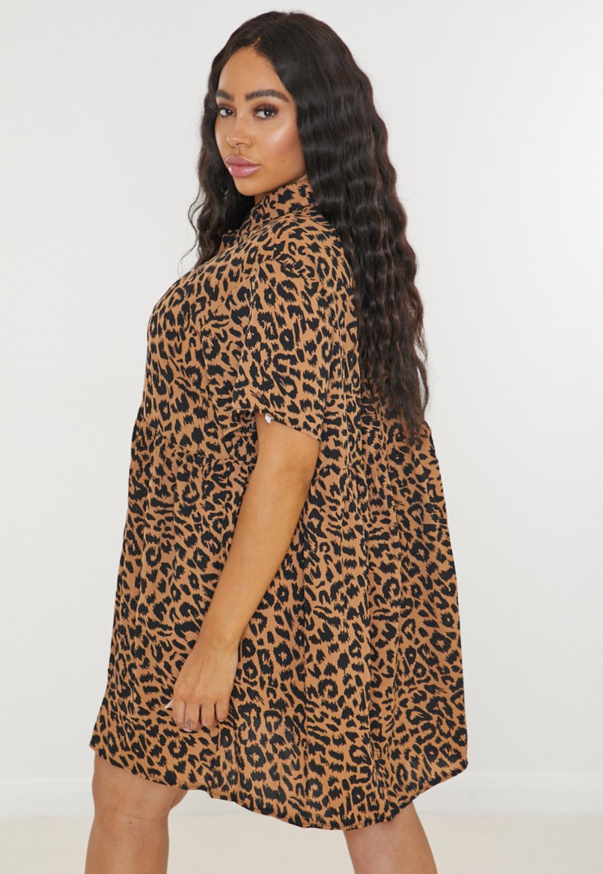 Plus Size Brown Leopard Print Smock Dress