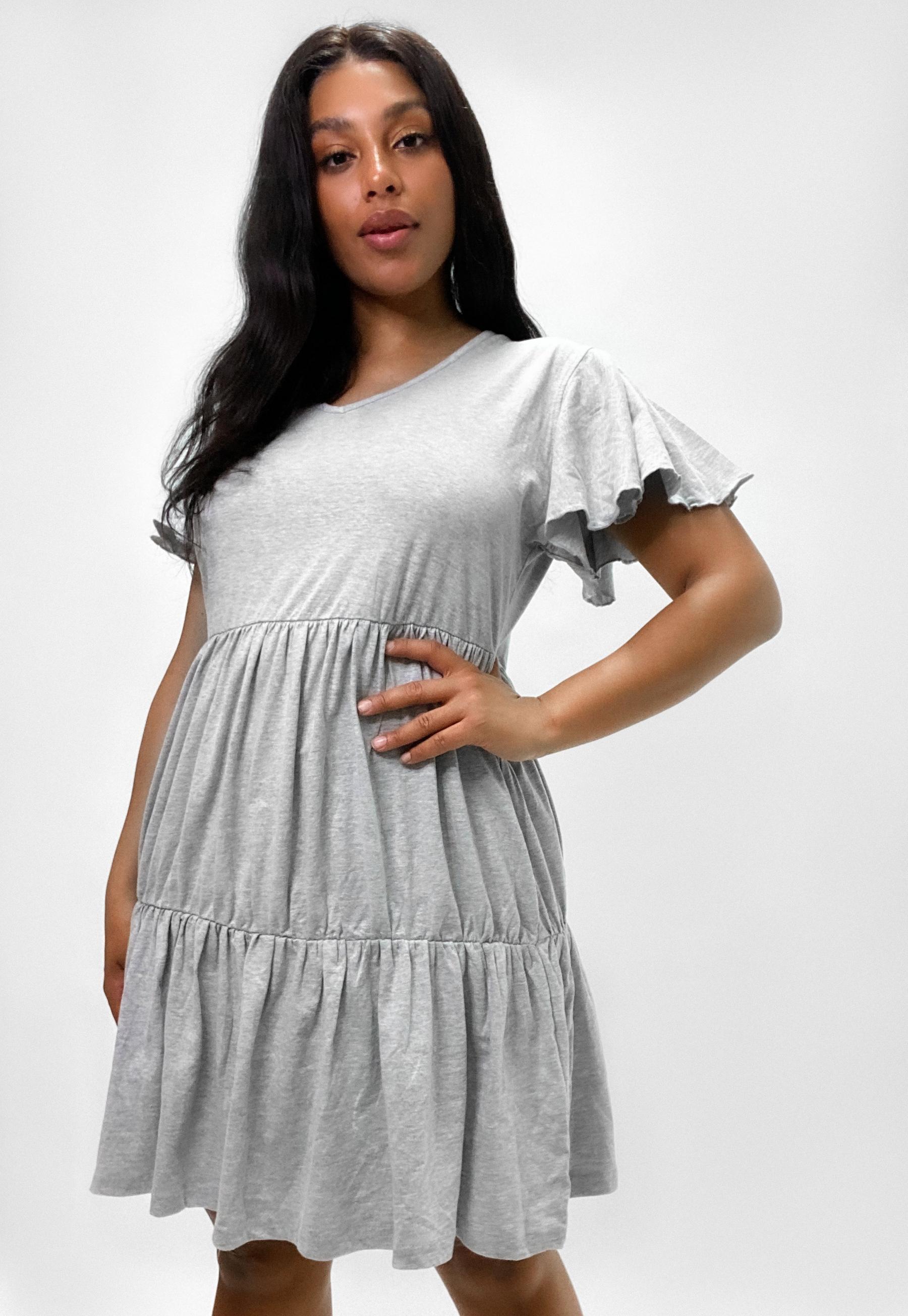 Plus Size Smock-Kleid mit V-Ausschnitt in Grau   Missguided