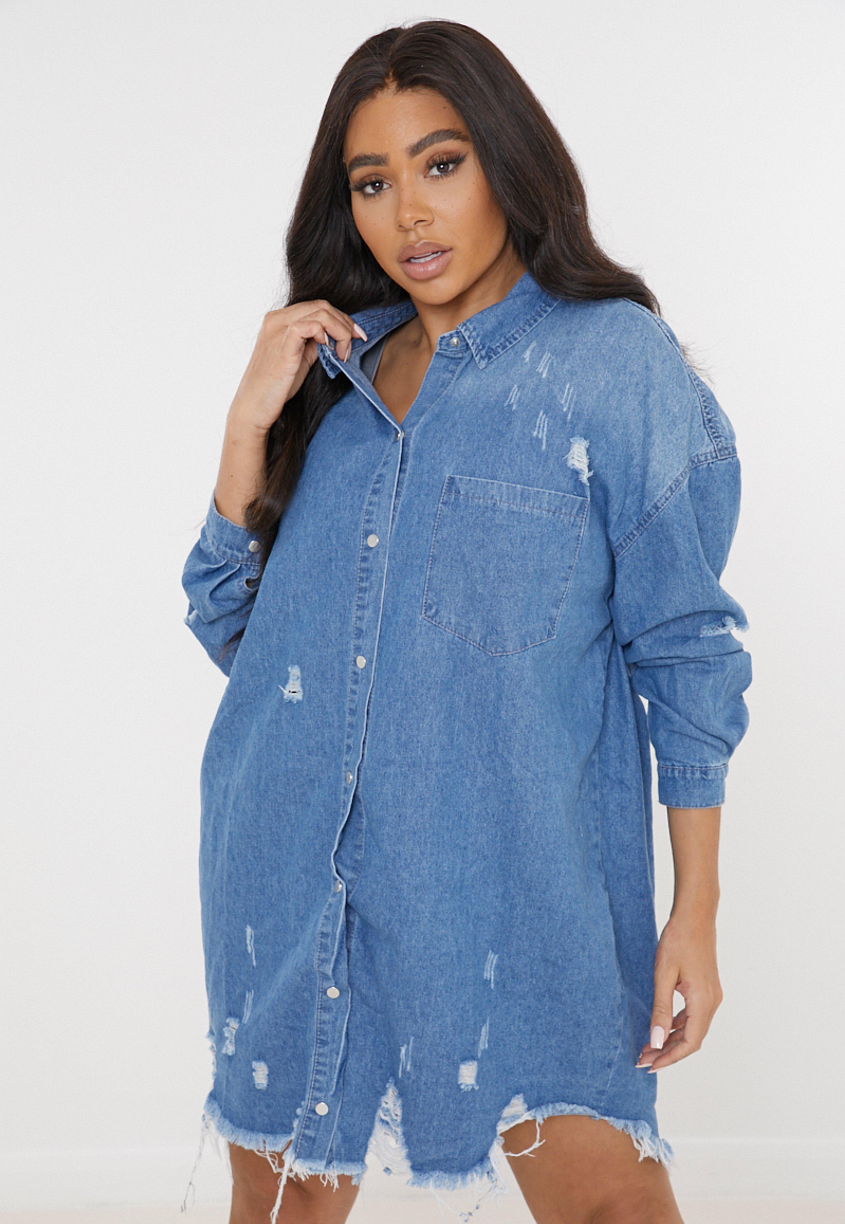 Plus Size Blue Oversized Denim Shirt Dress