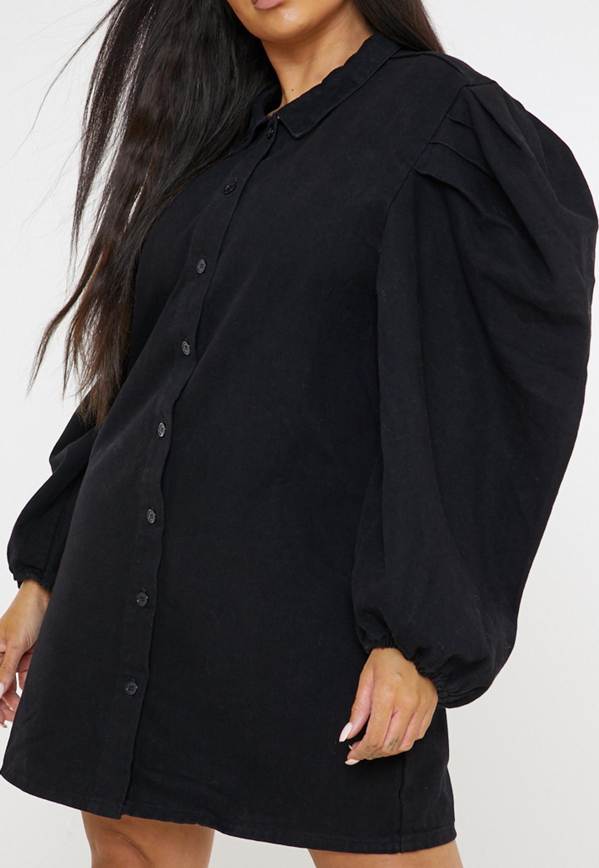 Plus Size Black Denim Puff Sleeve Shirt Dress
