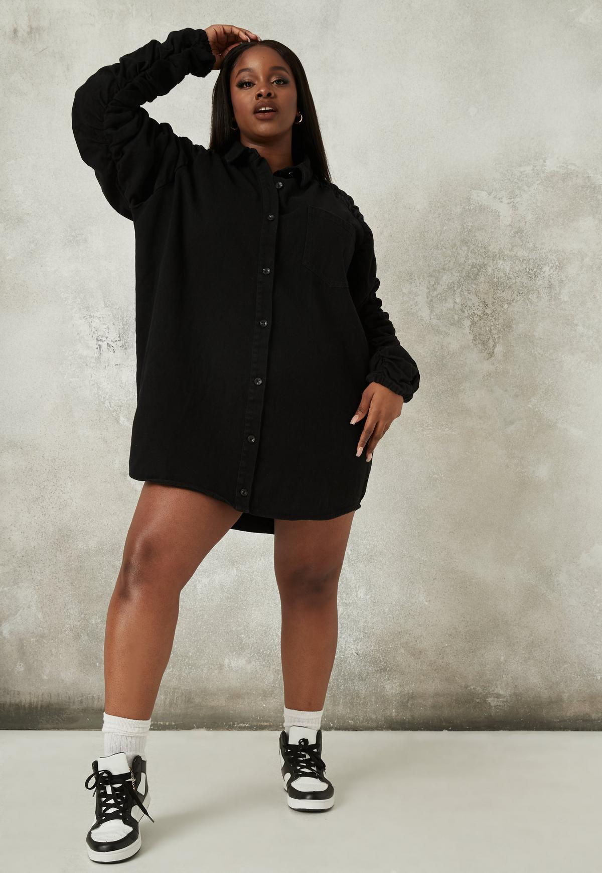 Plus Size Black Ruched Sleeves Denim Shirt Dress