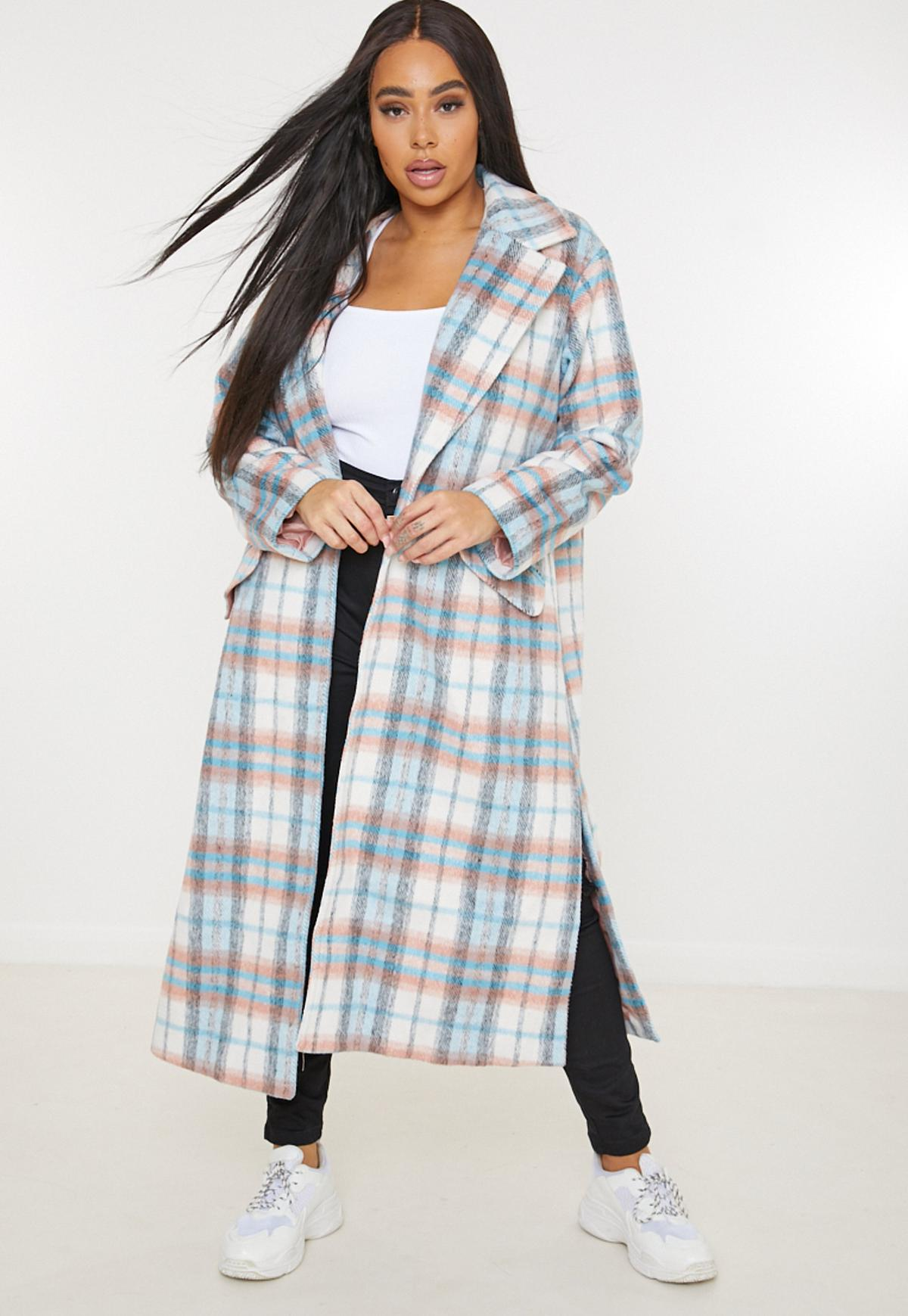plus size white brushed plaid formal coat