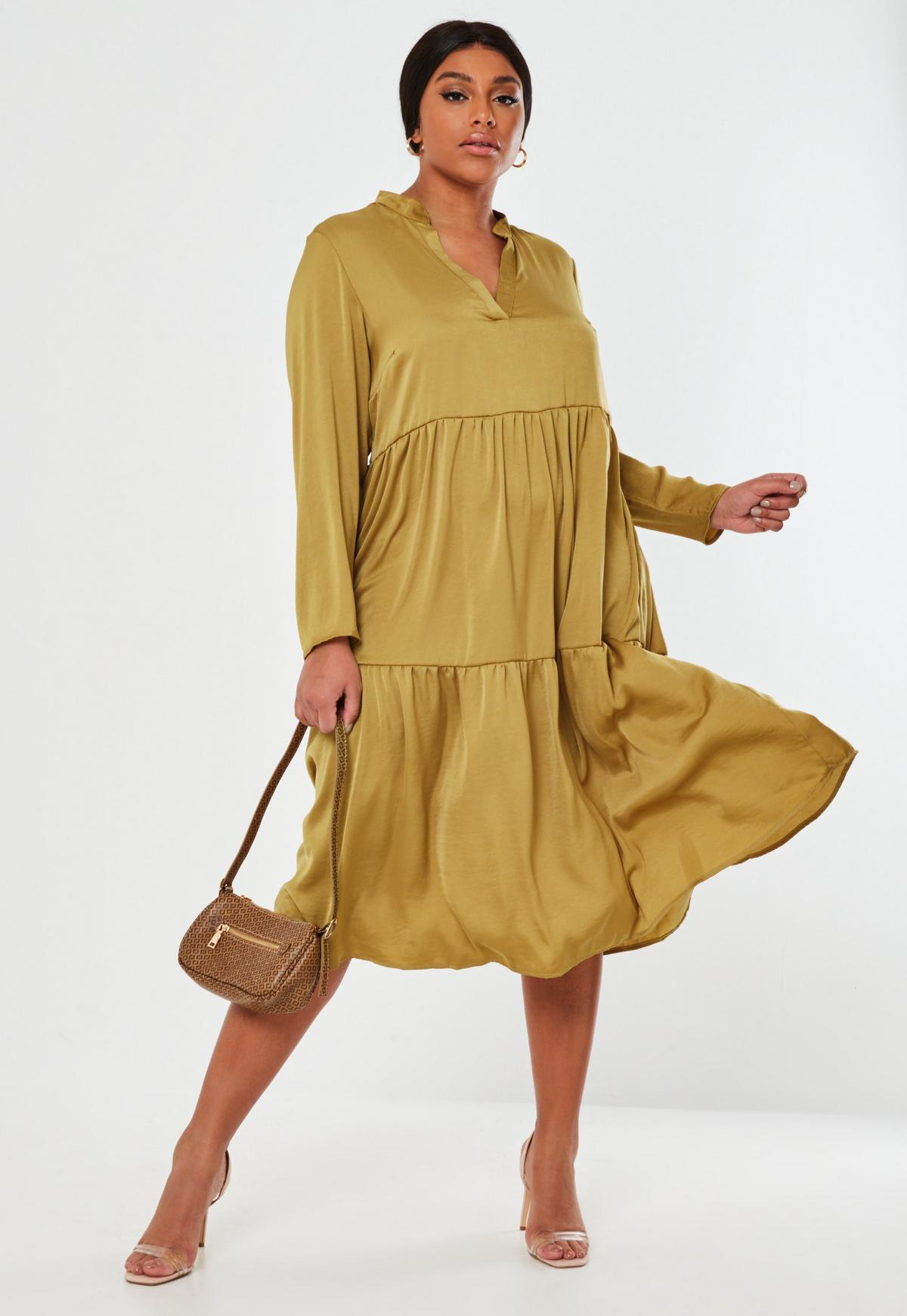 Plus Size Mustard Satin Tiered Smock Dress