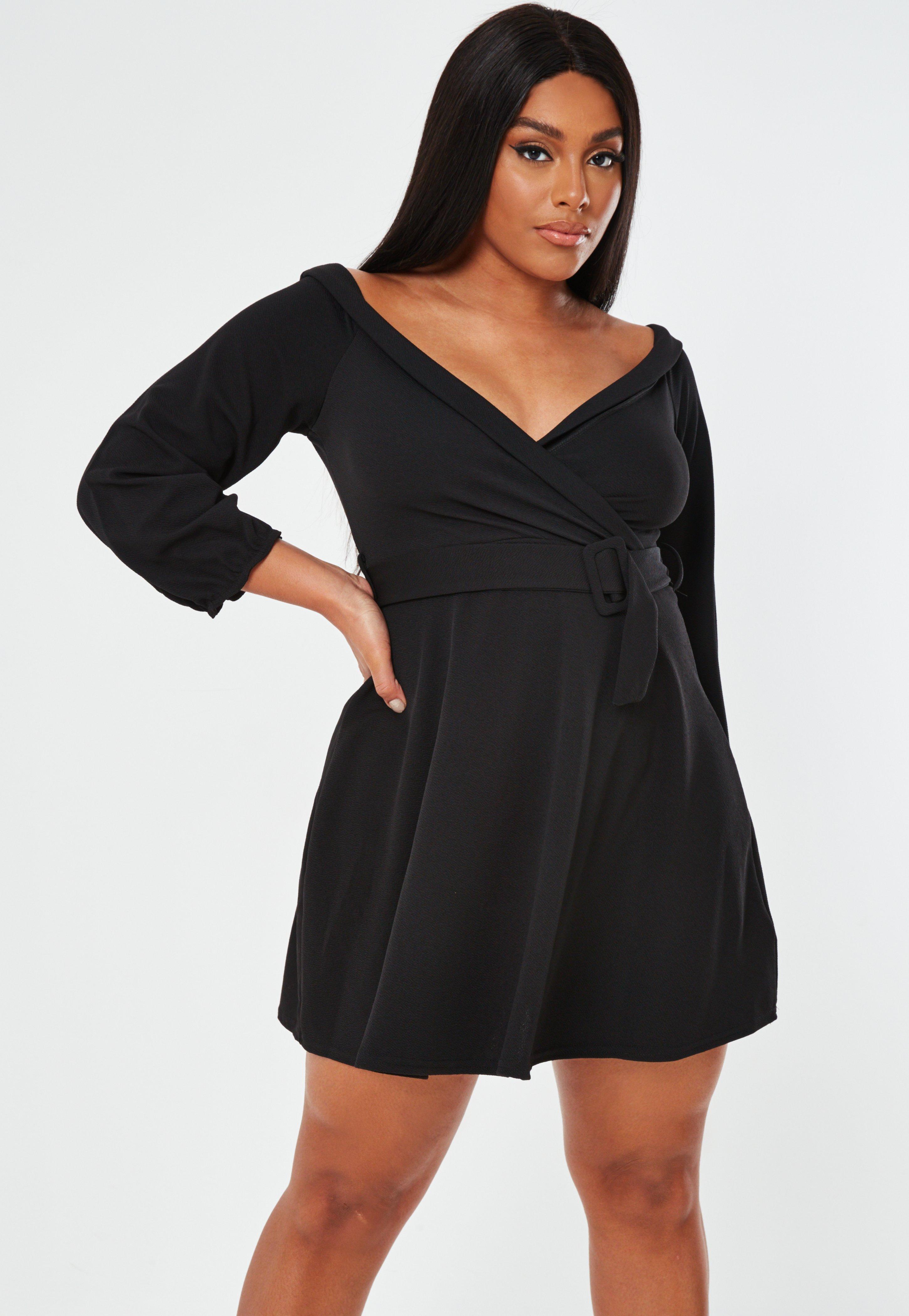 Missguided plus size black choker neck bardot dress black uk 20