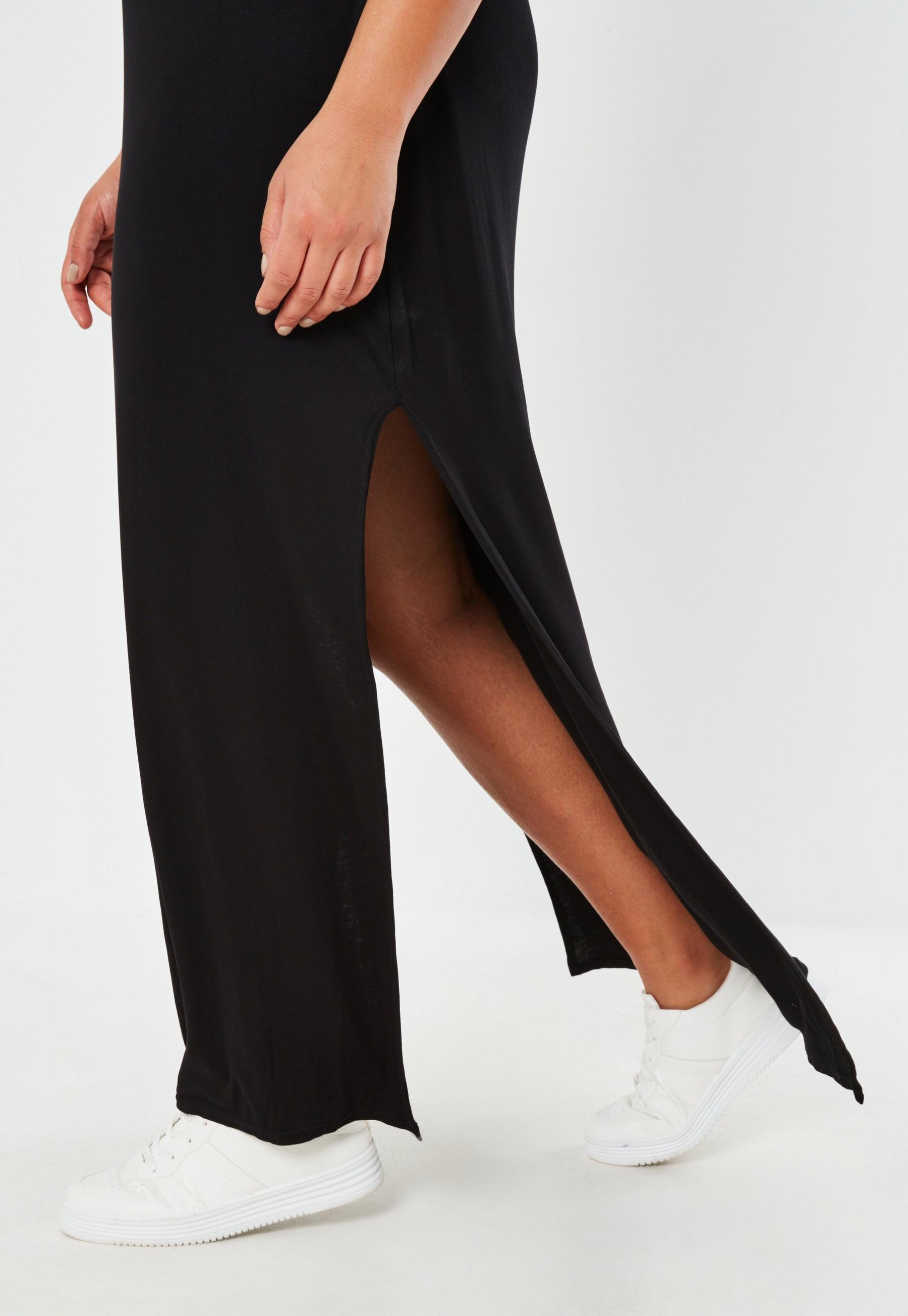 Plus Size Black Double Split T Shirt Maxi Dress