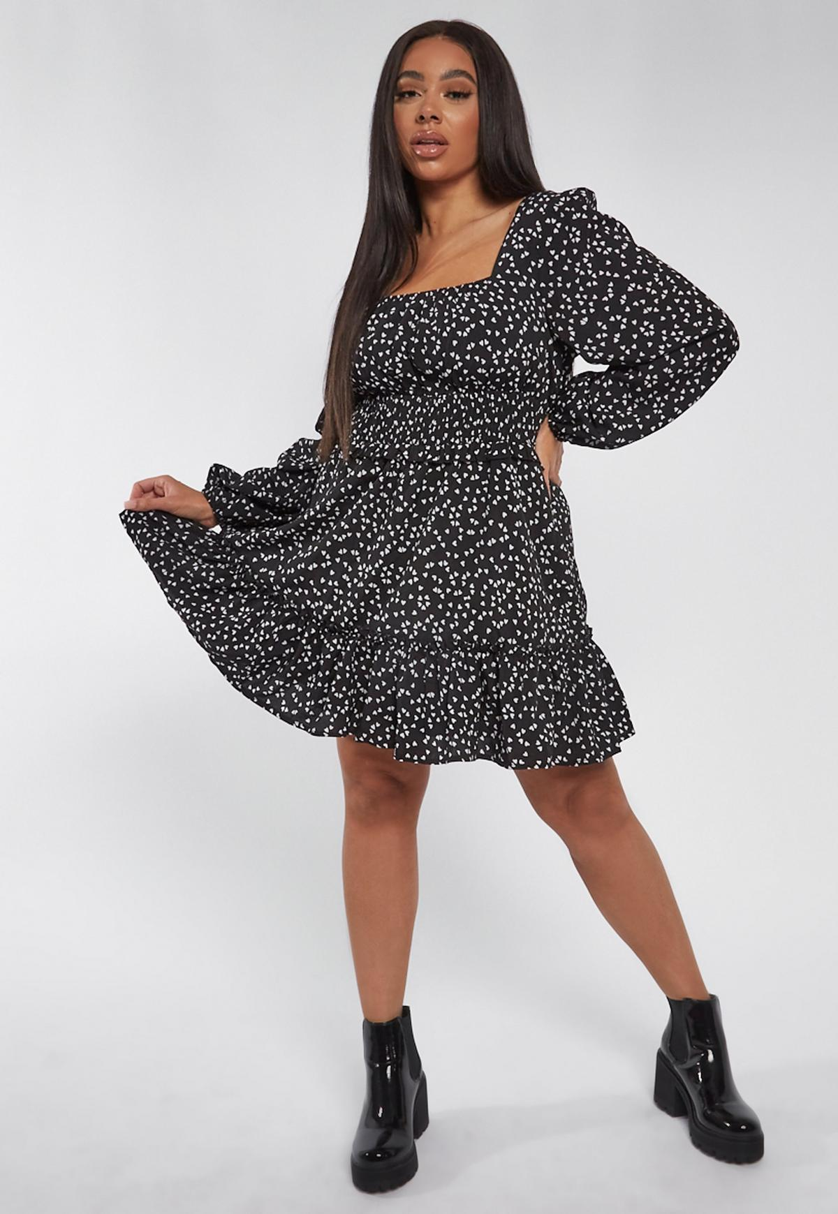Robe Patineuse Froncee Noire A Imprime Cœur Grande Taille Missguided