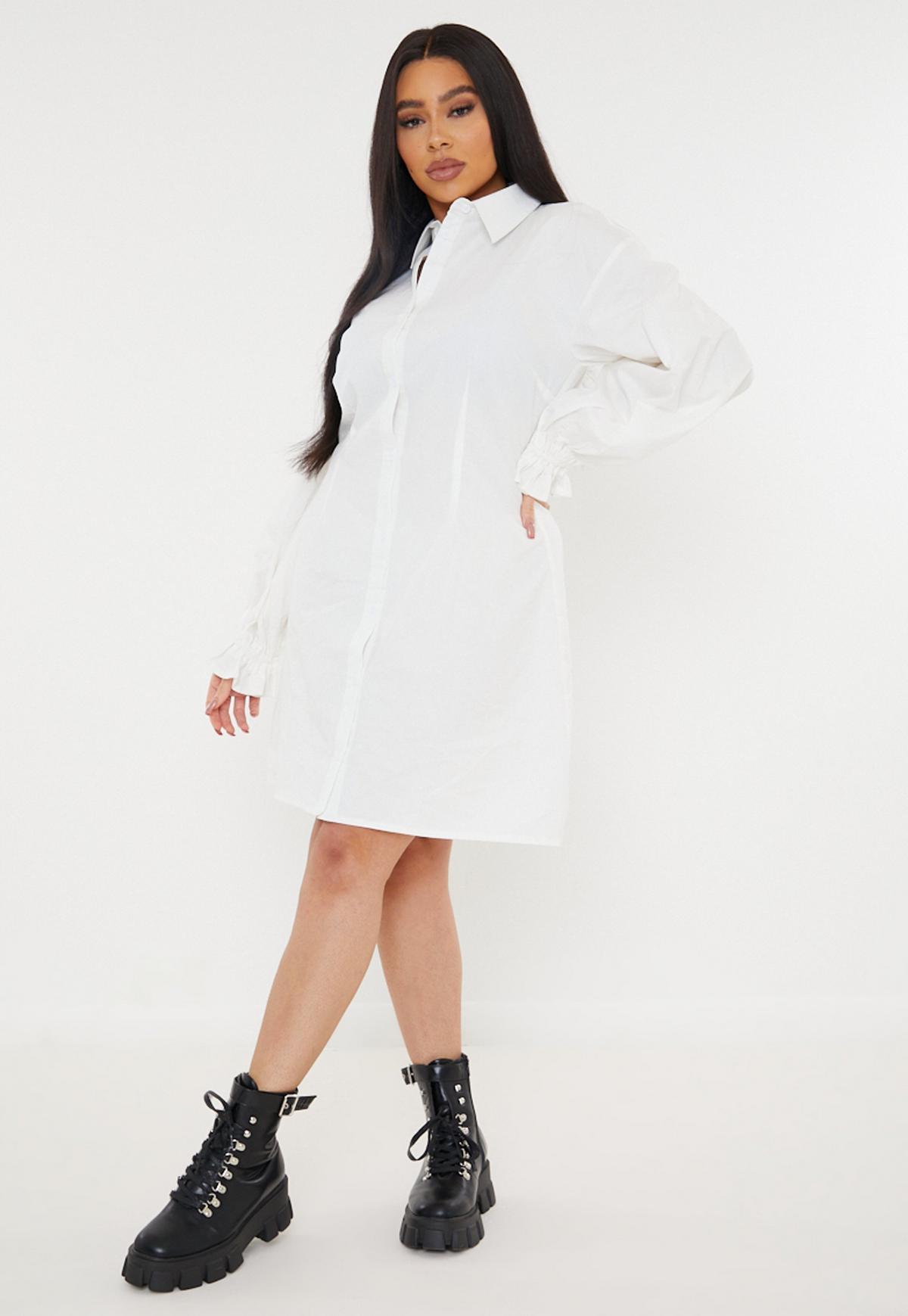 Plus Size White Poplin Balloon Sleeve Shirt Dress