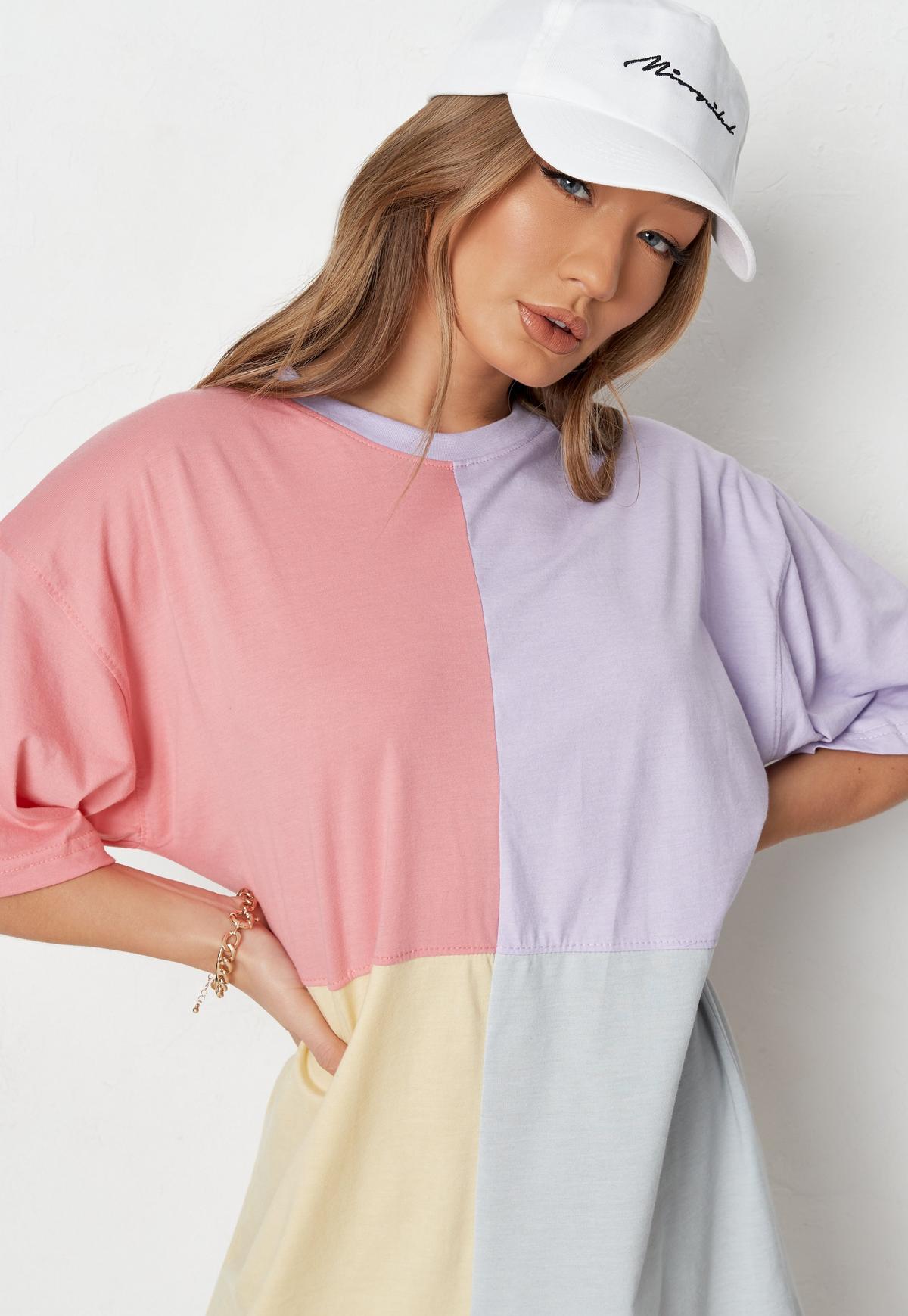 Pink Colorblock T Shirt Dress
