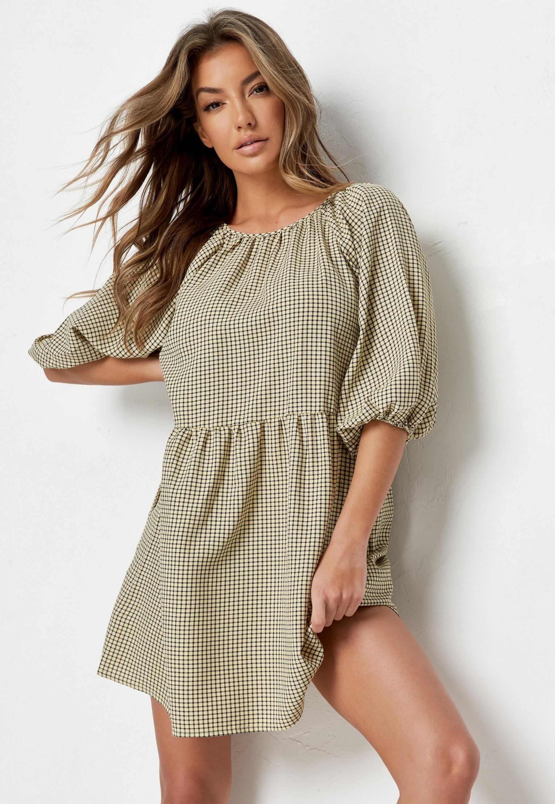 Green Gingham Balloon Sleeve Mini Dress | Missguided