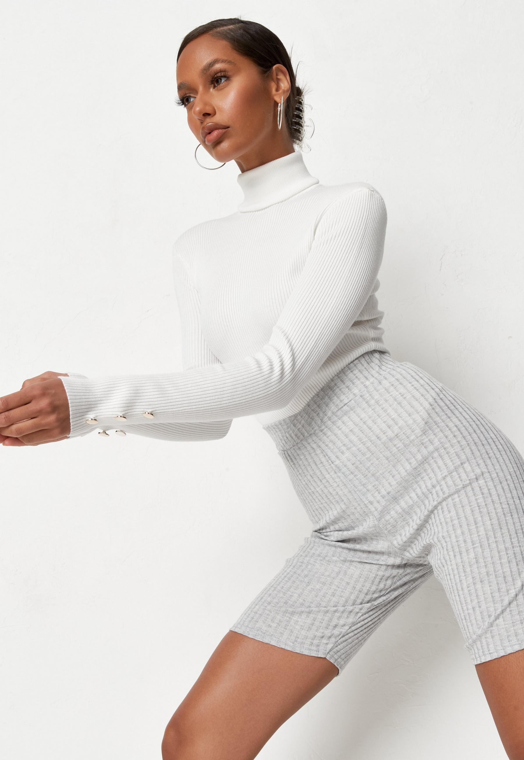 White Rib Roll Neck Knit Bodysuit  | Missguided