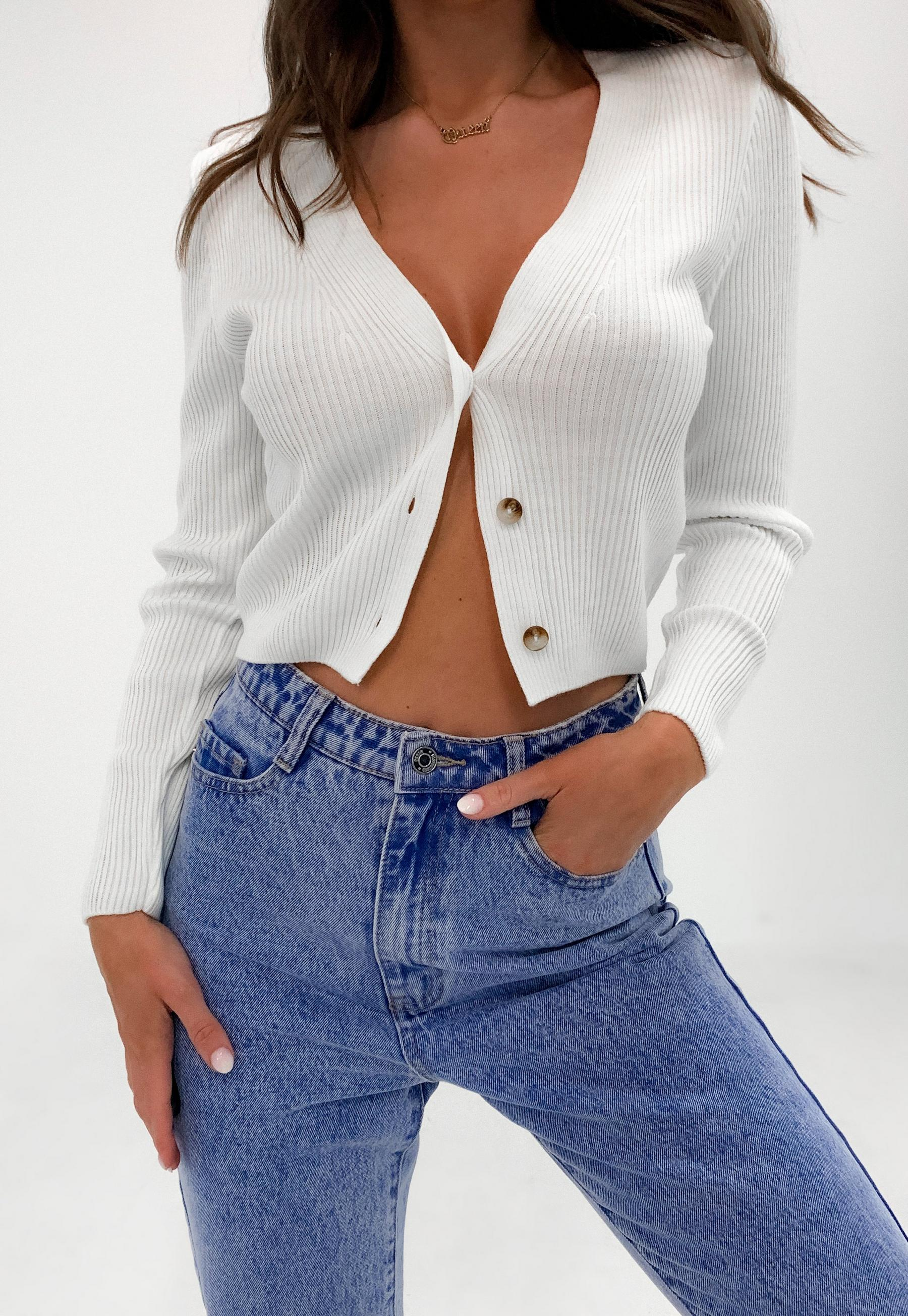 white skinny rib knitted cropped cardigan