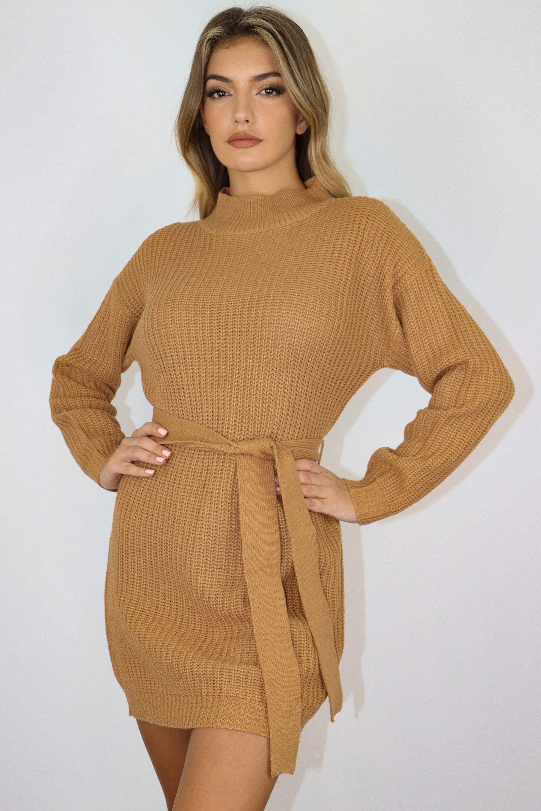 Camel Roll Neck Belted Basic Knit Dress   Missguided