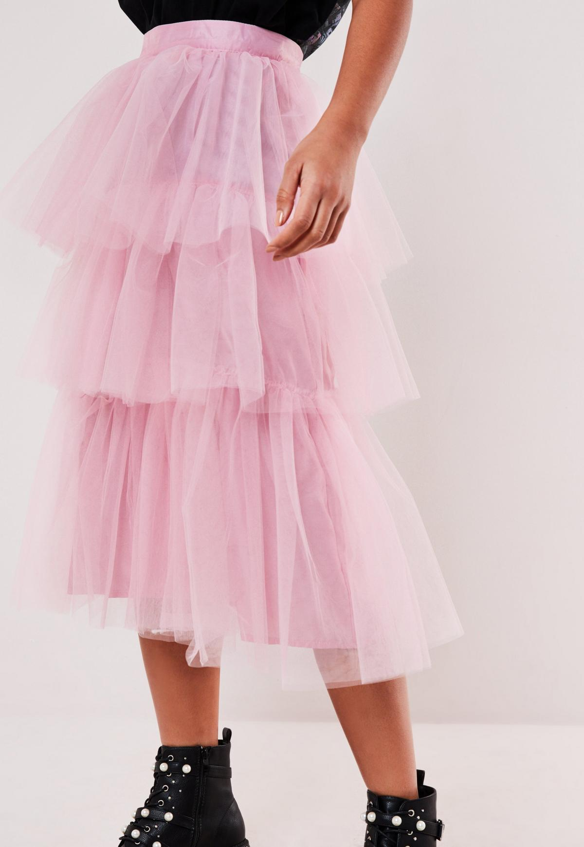 Pink Tulle Tiered Midi Skirt Missguided Australia