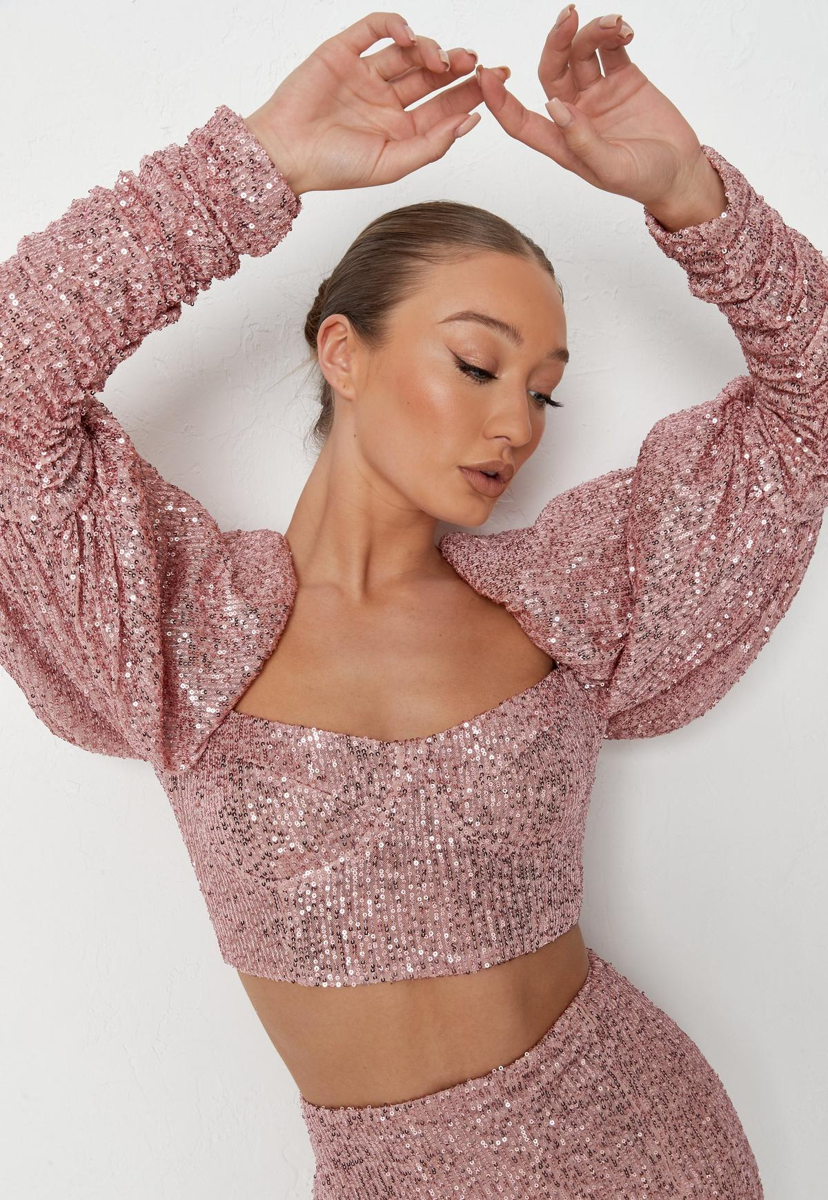 Pink Sequin Ruched Puff Sleeve Top and Skirt Co Ord Set