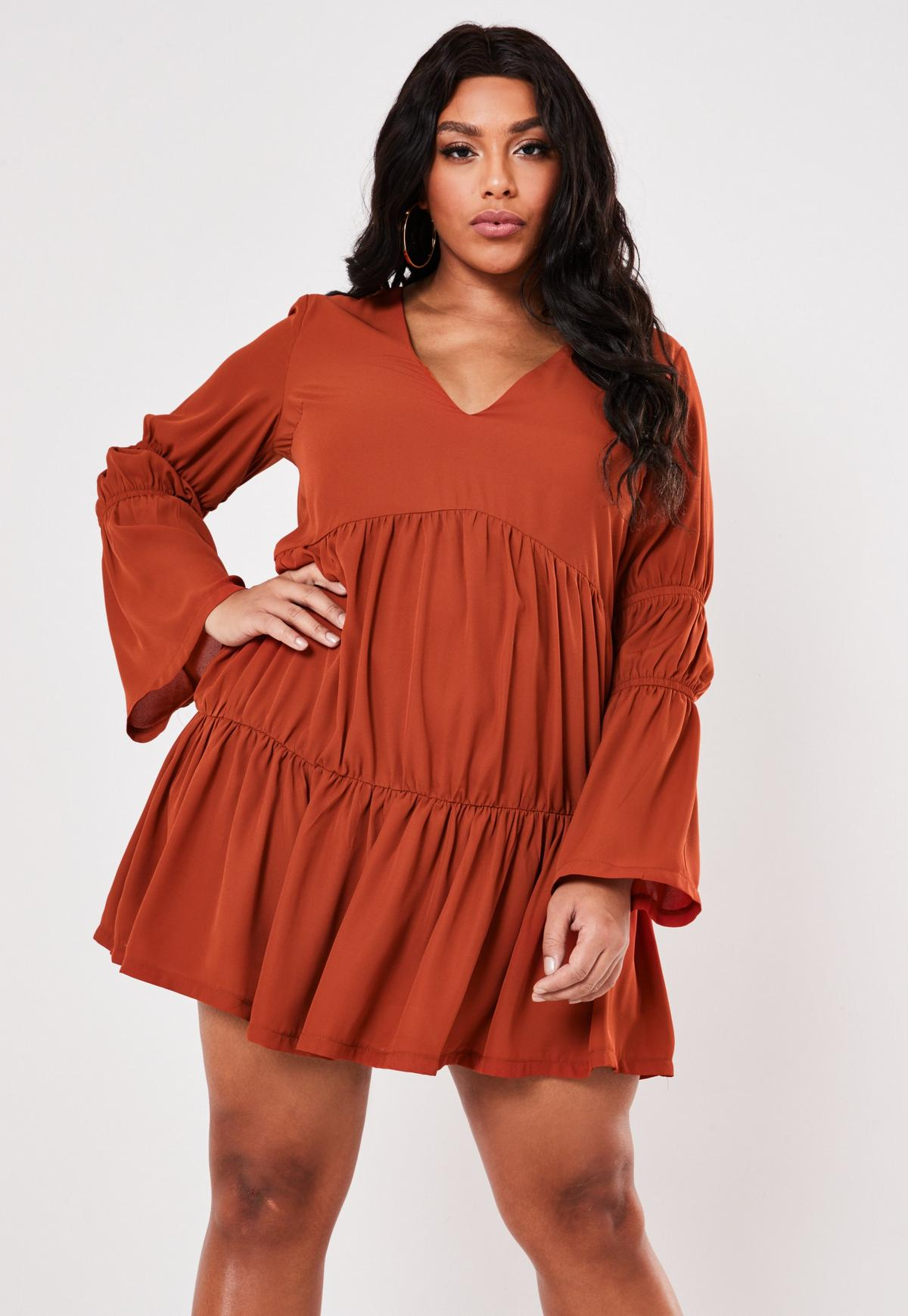Plus Size Rust Tiered Plunge Smock Dress