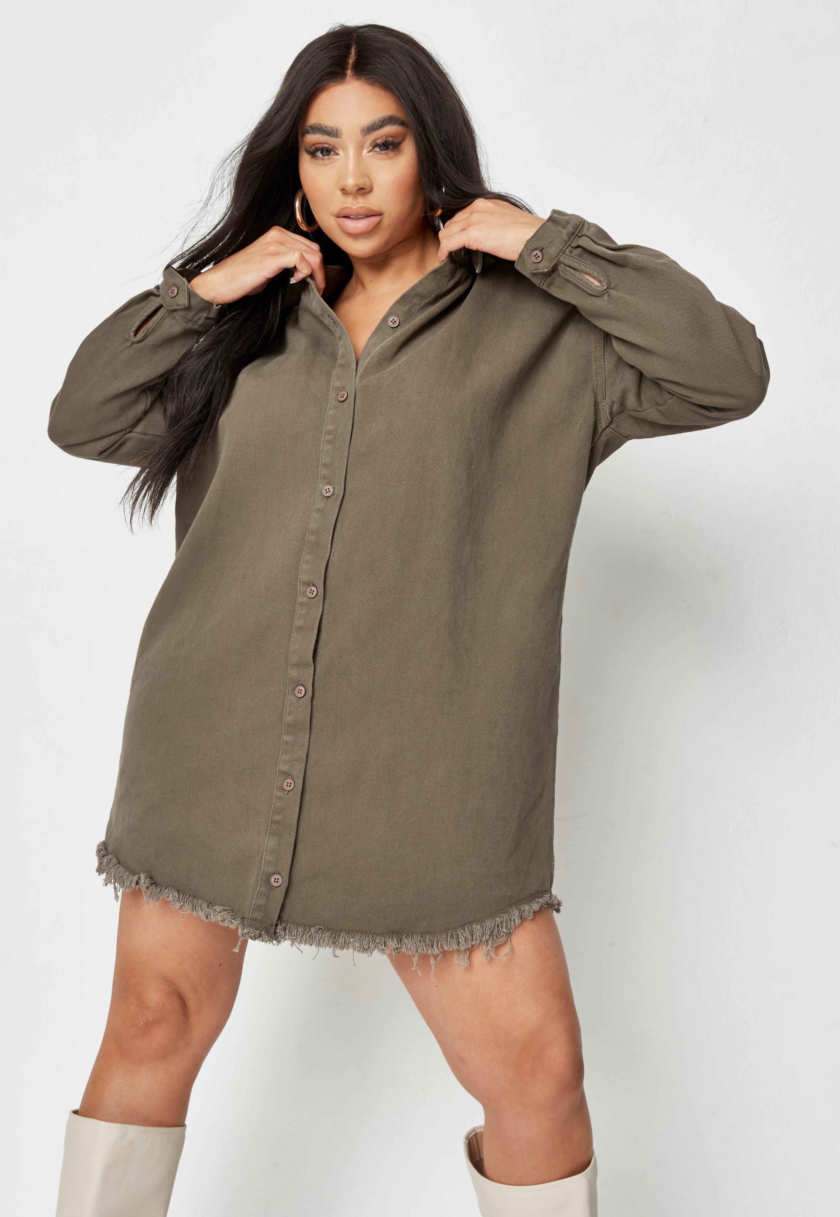 Plus Size Khaki Oversized Denim Shirt Dress