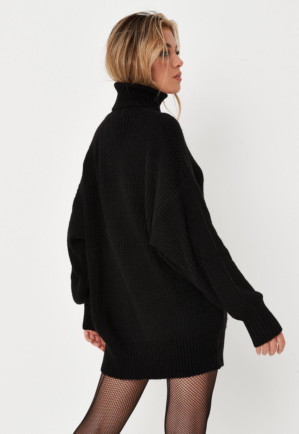 Petite Black Premium Boyfriend Roll Neck Knit Dress  | Missguided
