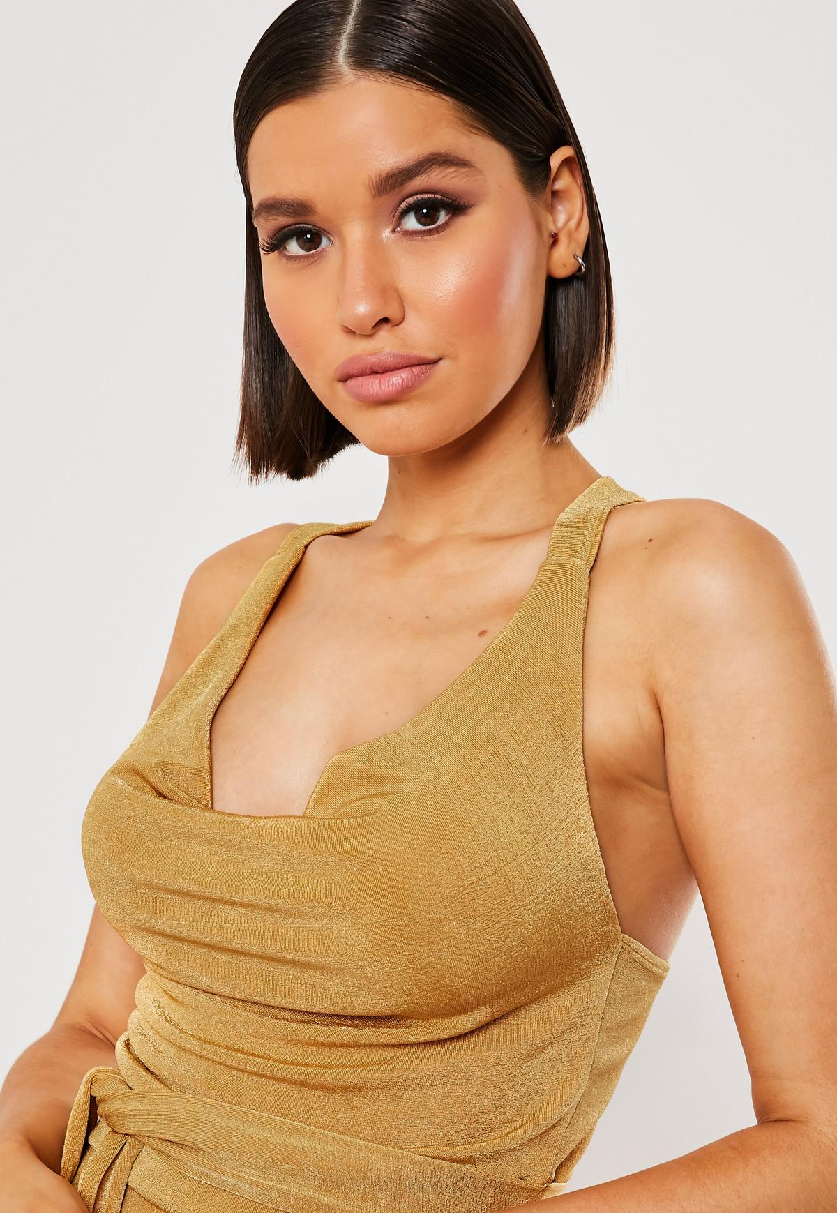 Plus Size Gold Cowl Front Slinky Top