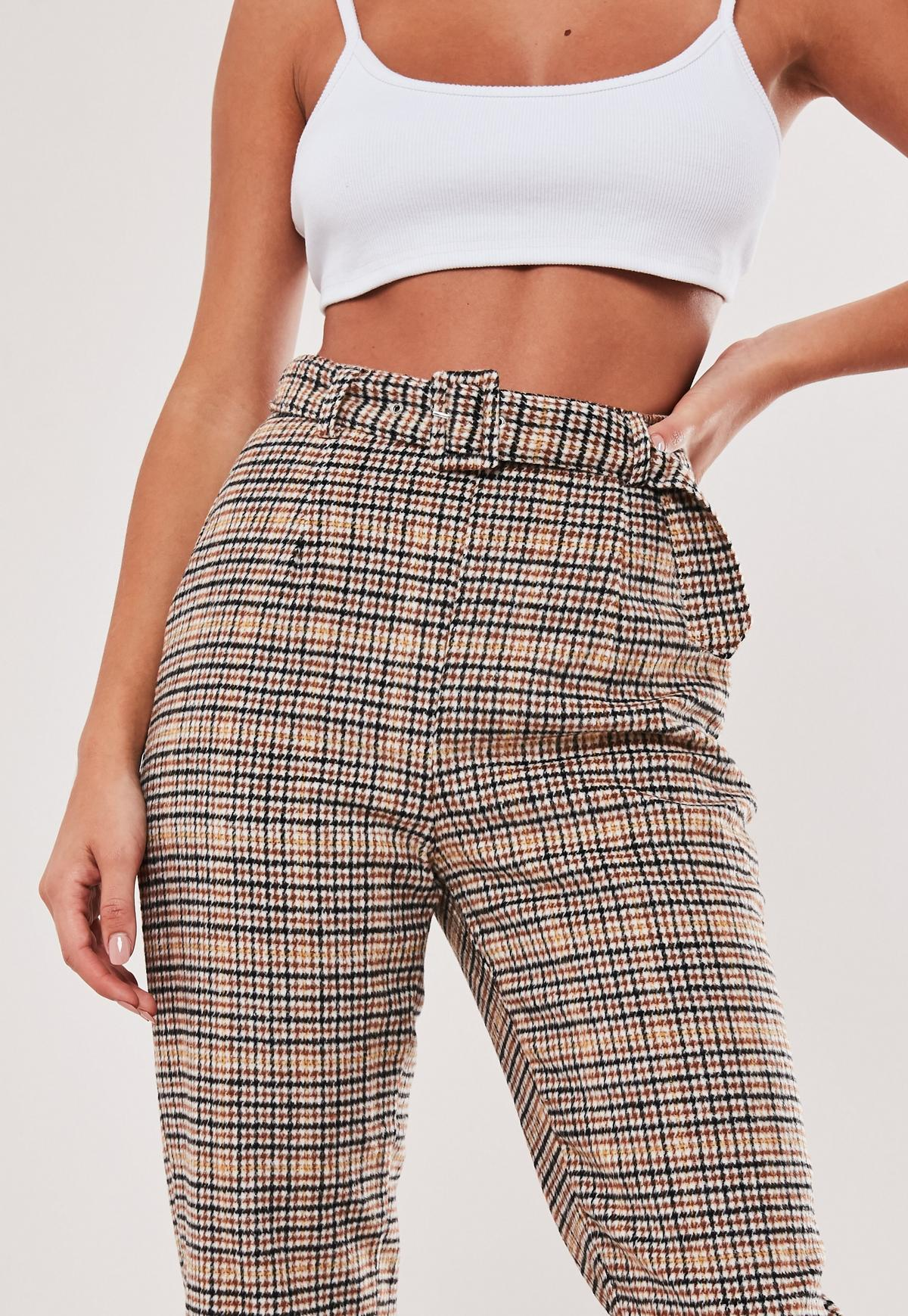 Brown heritage check cigarette trousers excise duty on cigarettes uae