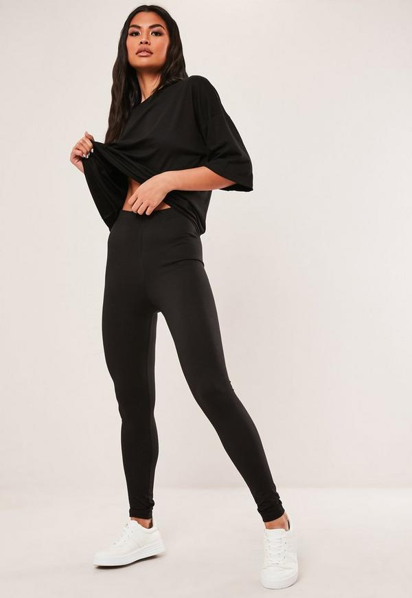 limited style casual shoes 2019 wholesale price Tall Black Oversized T Shirt And Leggings Co Ord Set