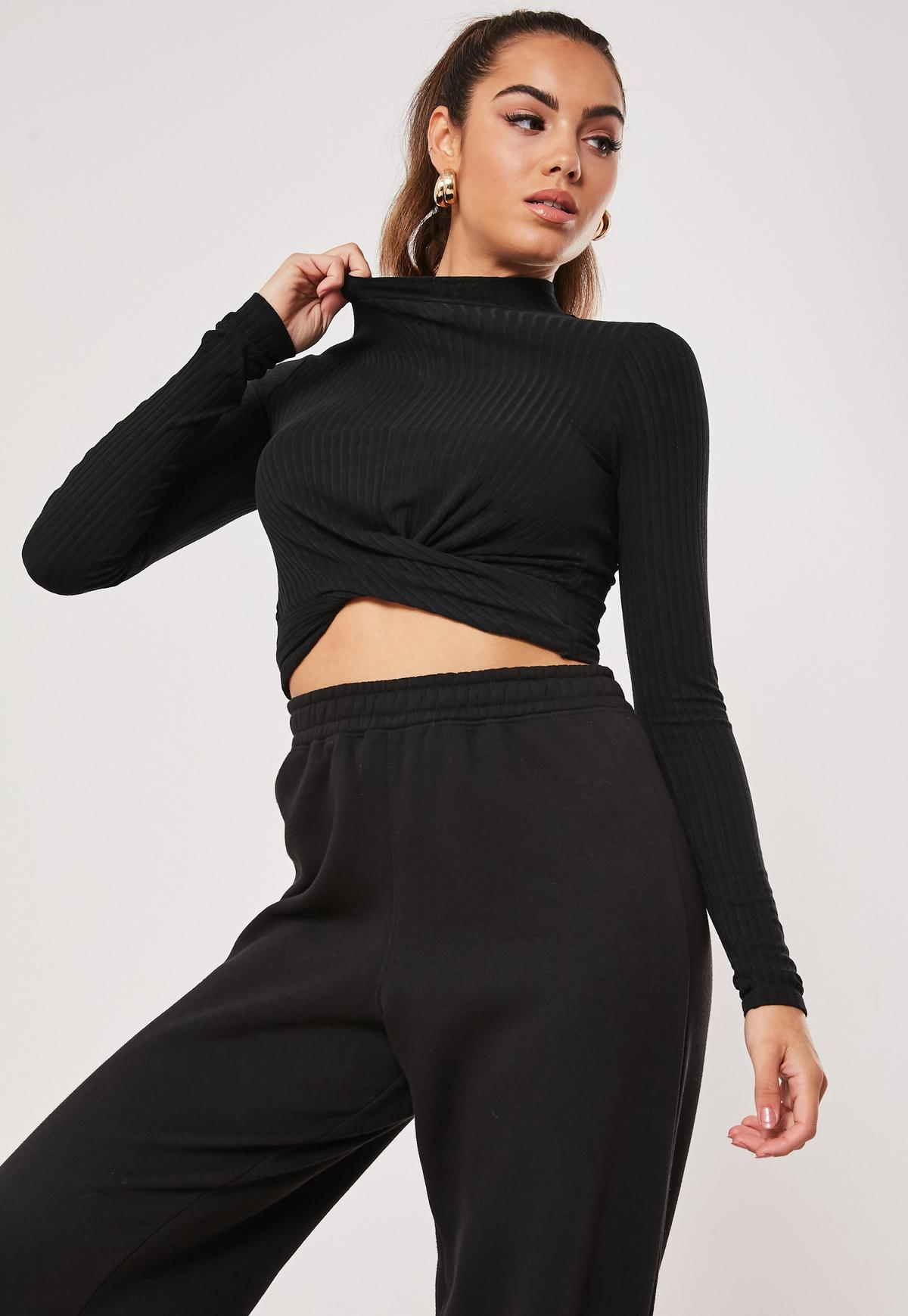 Tall Black Ribbed Twist Front Crop Top