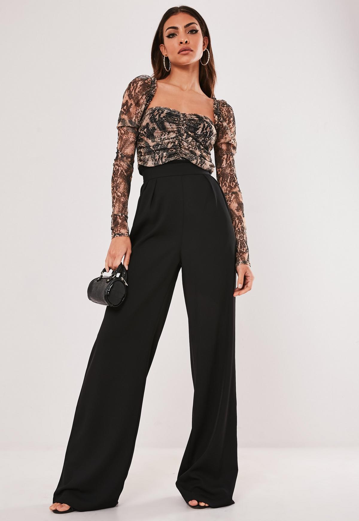 online retailer shop online store Petite Black Wide Leg Pants | Missguided