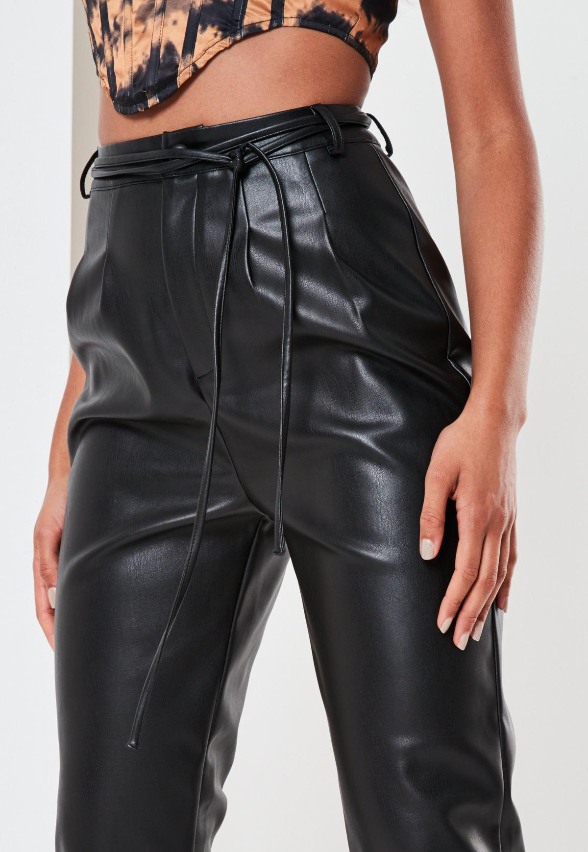 Missguided - Petite Black Faux Leather Jogger Trousers