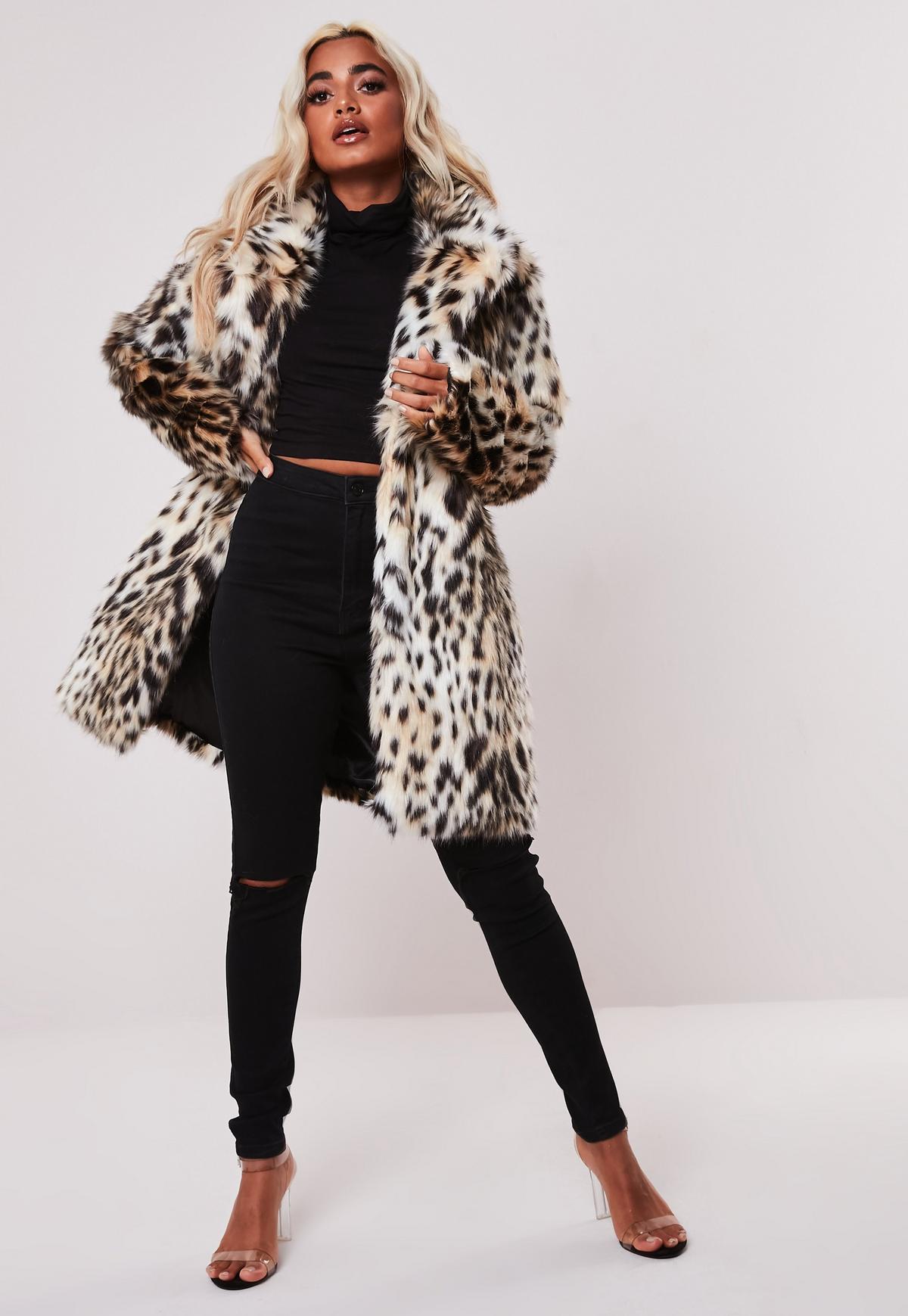 Ongekend Petite Nude Leopard Print Faux Fur Coat   Missguided SW-56