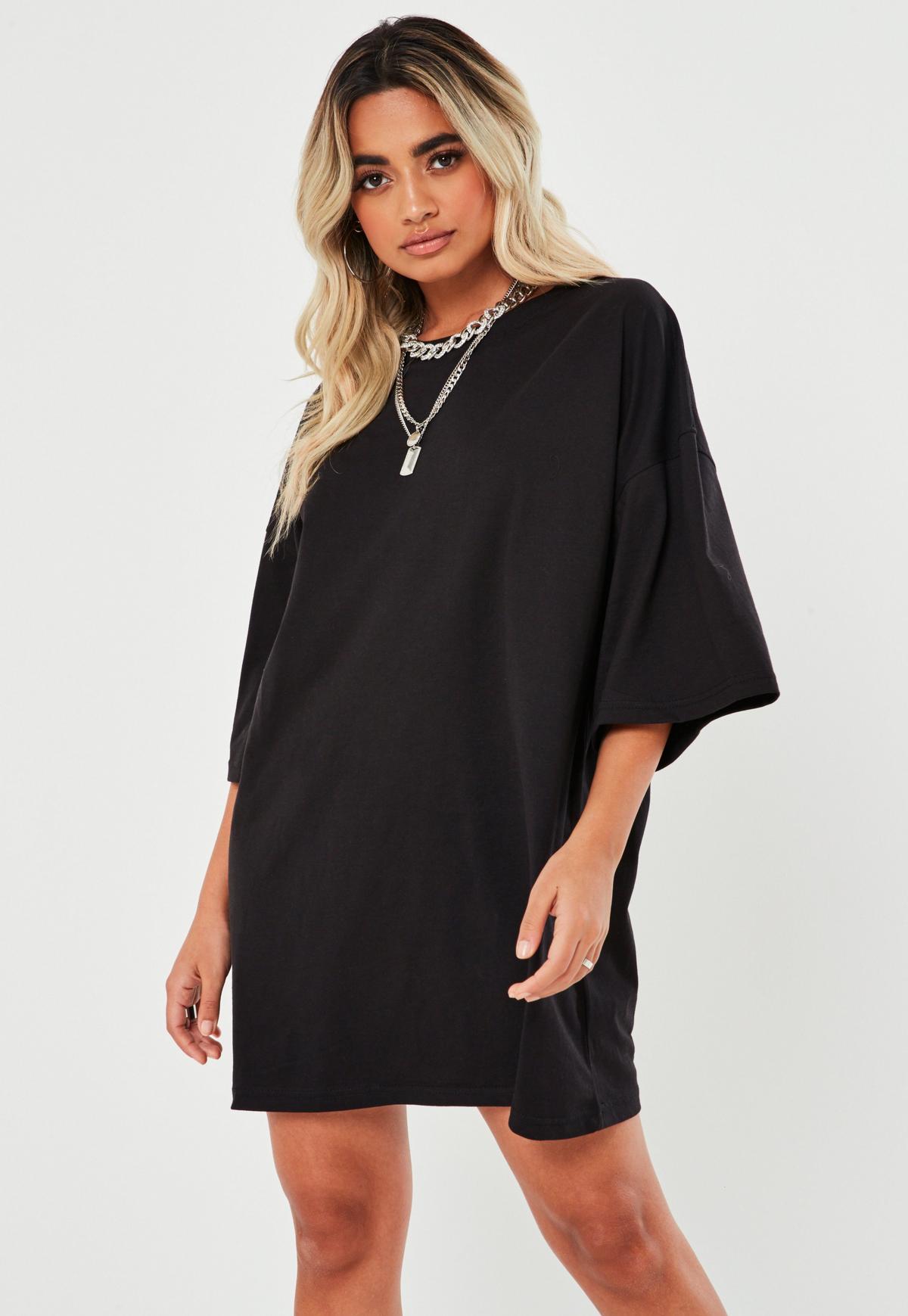 Petite Black Basic Oversized T Shirt Dress