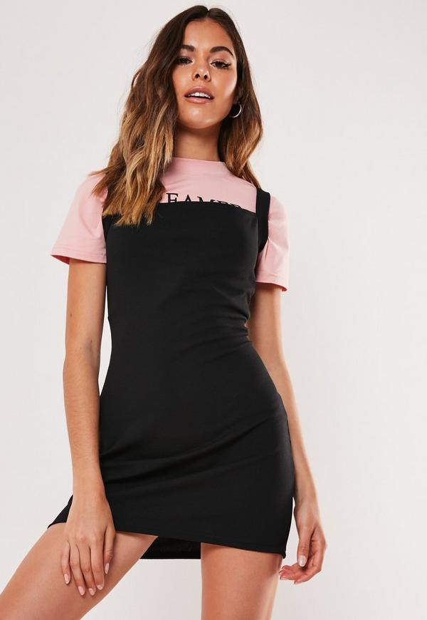 new & pre-owned designer special section official Petite Black Basic Mini Pinafore Dress