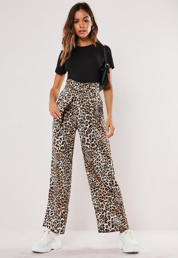 aeafa0ba407 Petite Brown Leopard Print Paperbag Waist Trousers