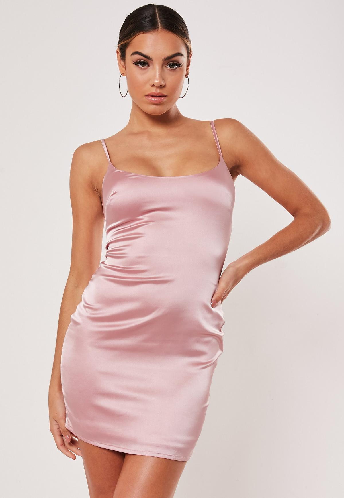 petite pink stretch satin bodycon mini dress