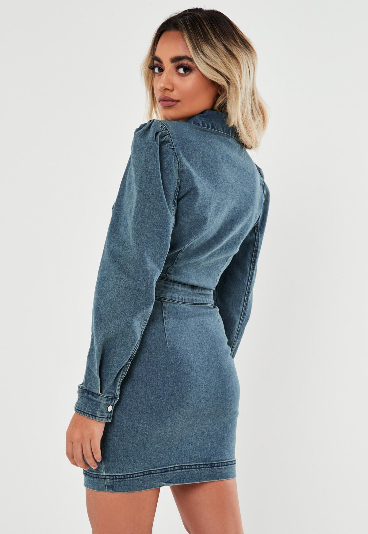 Kleid aus Denim in Blau mit Puffärmeln und Reißverschluss ...