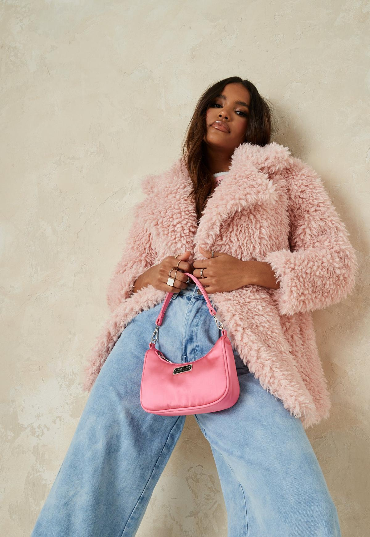 pink curly borg teddy coat