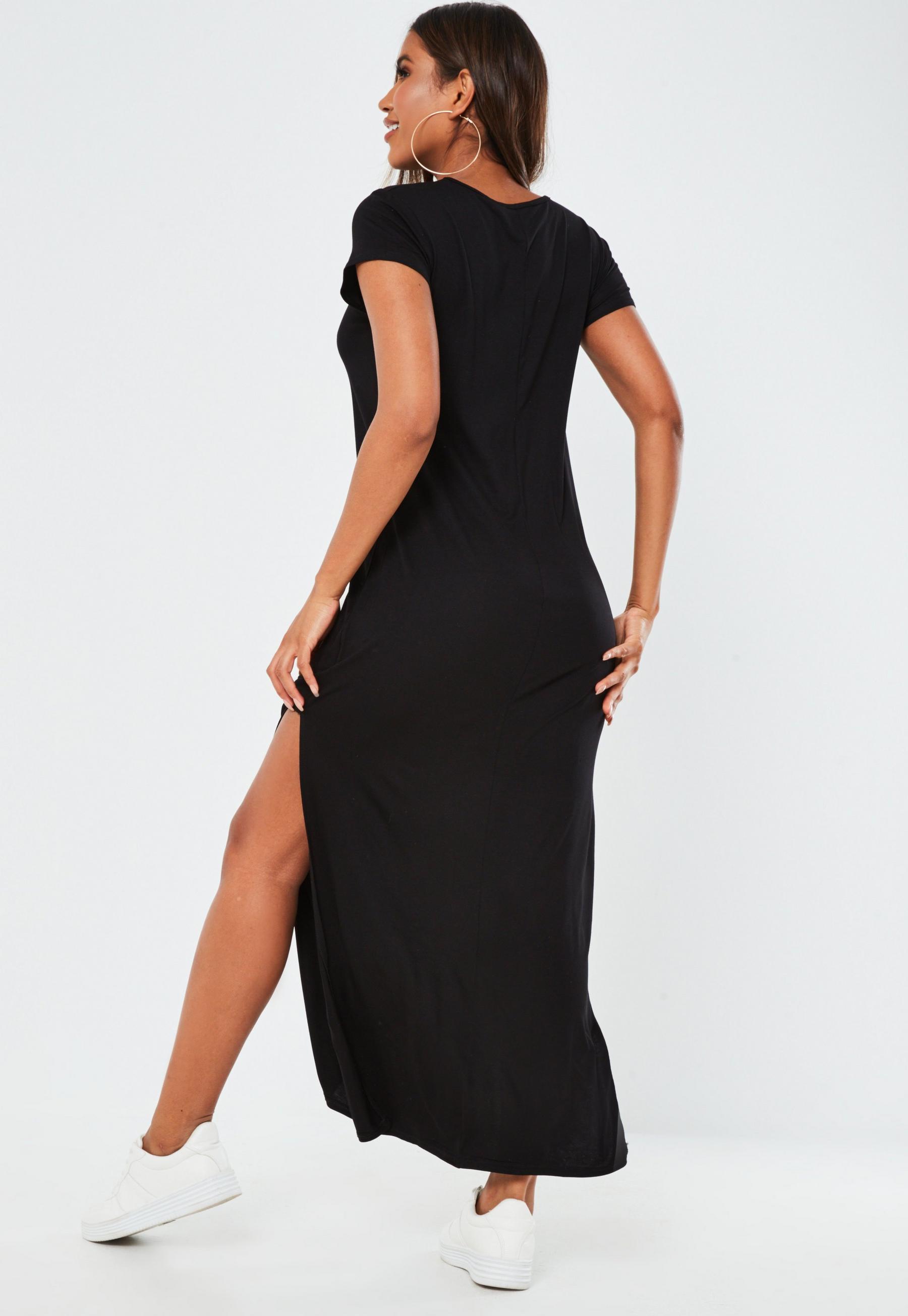 Petite Black Double Split T Shirt Maxi Dress