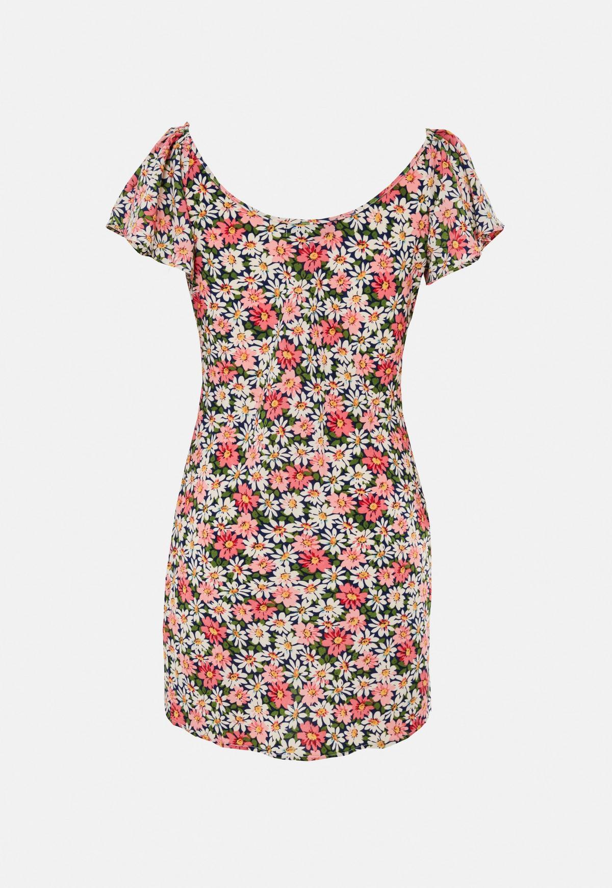 Robe courte rose à fleurs froncée petite