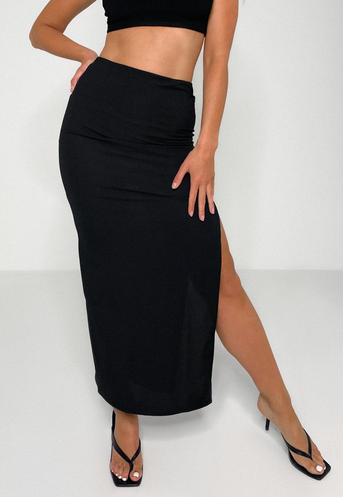 Petite Black Rib Side Split Maxi Skirt
