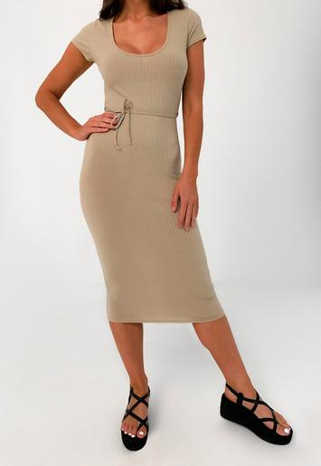 Missguided high neck ribbed racerback bodycon midi dress in camel