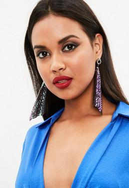 Silver Holographic Chain Mail Drape Earrings