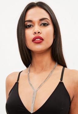 Silver Drop Chain Diamante Necklace
