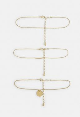 Gold 3 Choker Necklaces Set