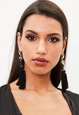 Black Tri Tassel Drop Earrings