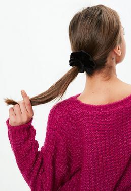 Black Velvet Hair Scrunchie