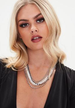 Silver Chain Diamante Necklace
